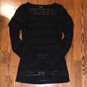Express black see through lace long sleeve